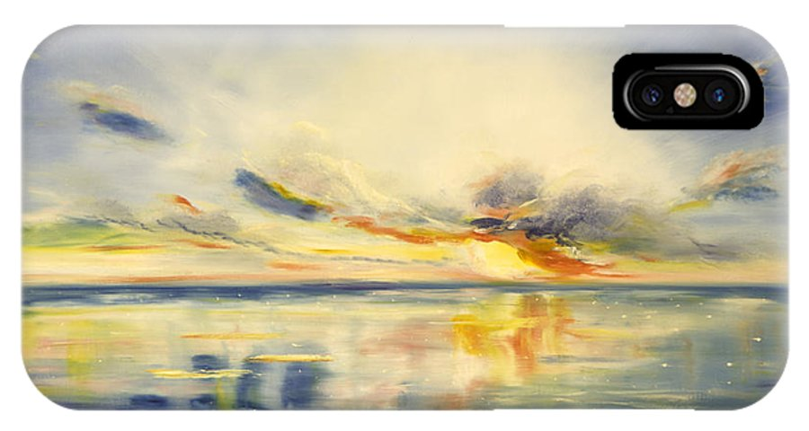 Blue IPhone Case featuring the painting Blue Sunset by Gina De Gorna