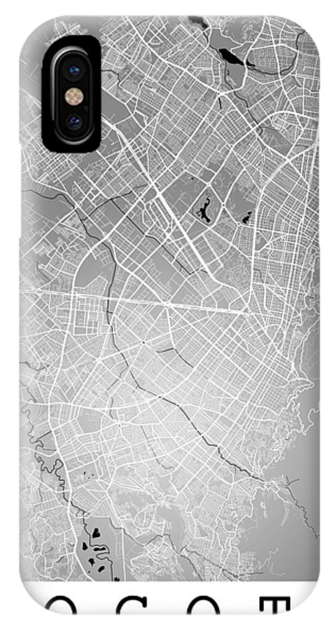 Road Map IPhone X Case featuring the digital art Bogota Street Map - Bogota Colombia Road Map Art On Colored Back by Jurq Studio