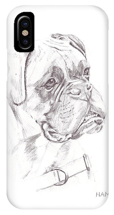 Dog IPhone X Case featuring the painting Boxer - Clue by Steve Hamlin