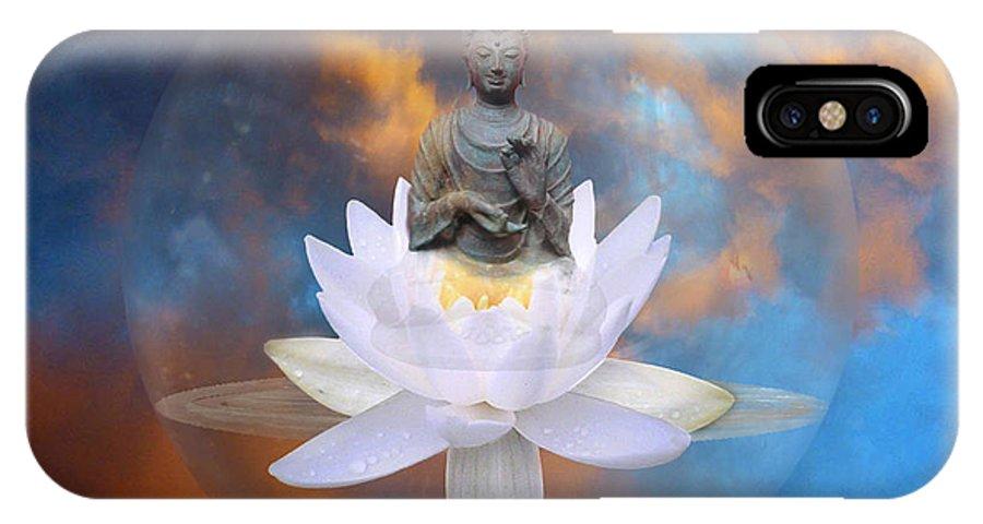 Budda IPhone X Case featuring the digital art Buddha Meditation by Gill Piper