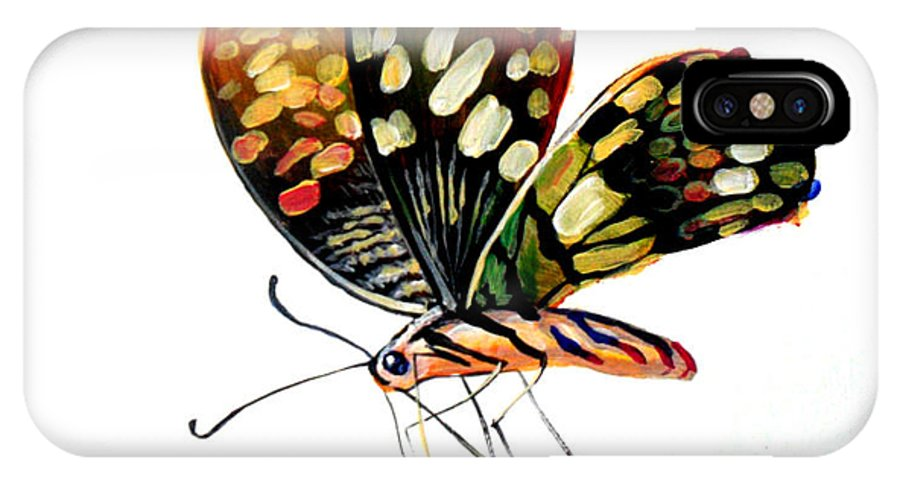 Oil Painting IPhone X Case featuring the drawing Butterfly by Rossi Zheng