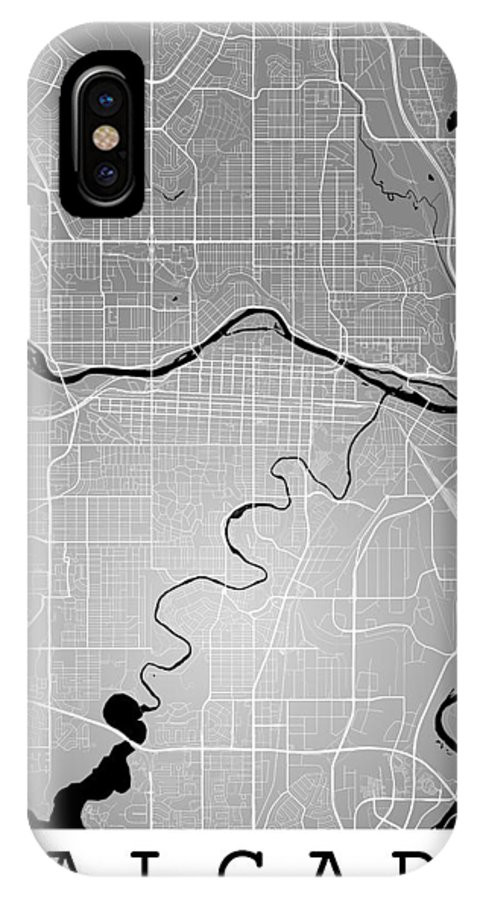 Road Map IPhone X Case featuring the digital art Calgary Street Map - Calgary Canada Road Map Art On Colored Back by Jurq Studio