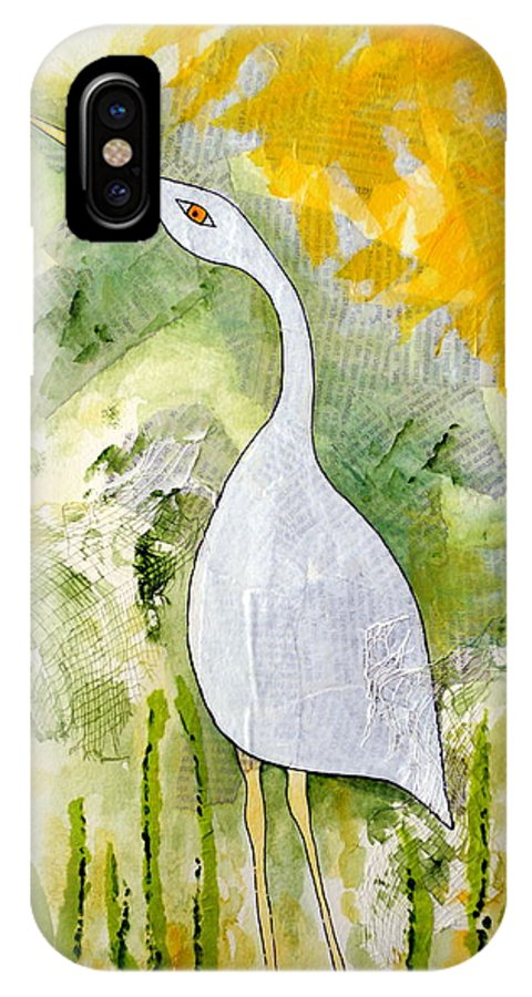 Egret IPhone X Case featuring the painting Cattle Egret by Sarah Rosedahl