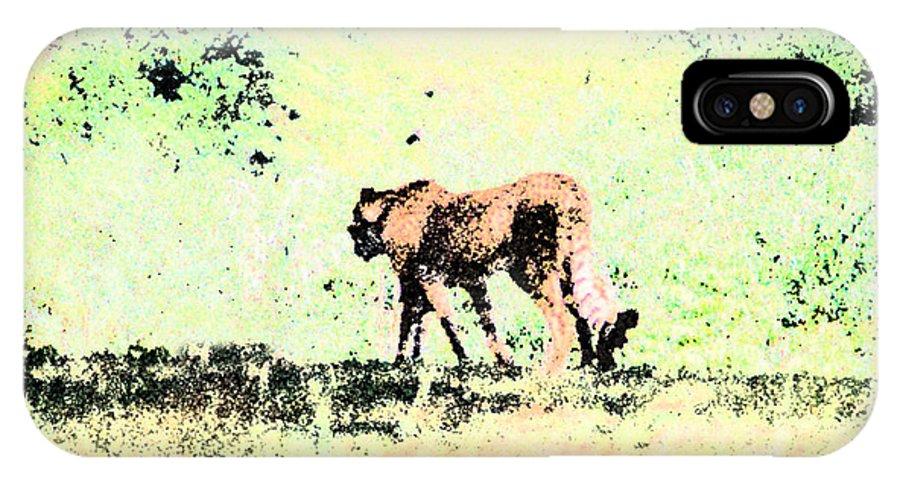 Cheetah IPhone X Case featuring the digital art Cheetah by Steve Karol