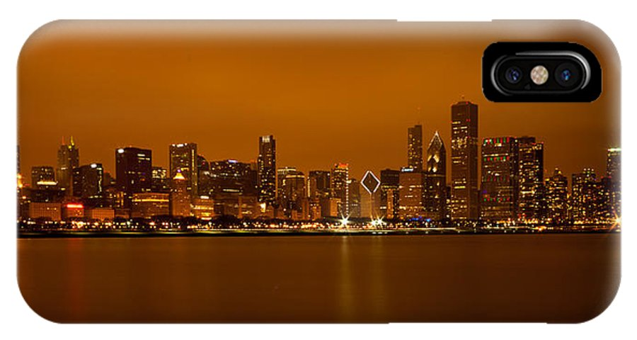 Chicago IPhone X Case featuring the photograph Chicago Skyline In Fog With Reflection by Anthony Doudt