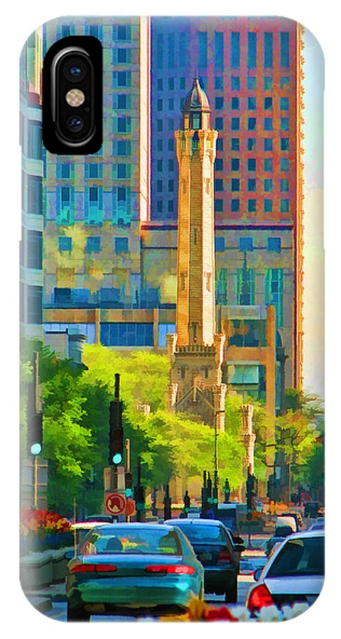Water Tower IPhone X Case featuring the painting Chicago Water Tower Beacon by Christopher Arndt