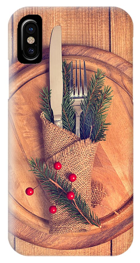Christmas IPhone X Case featuring the photograph Christmas Table Setting by Amanda Elwell