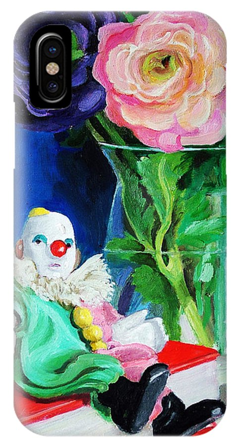 Clown And Flowers Still Life IPhone X Case featuring the painting Clown Book And Flowers by Edward Skallberg