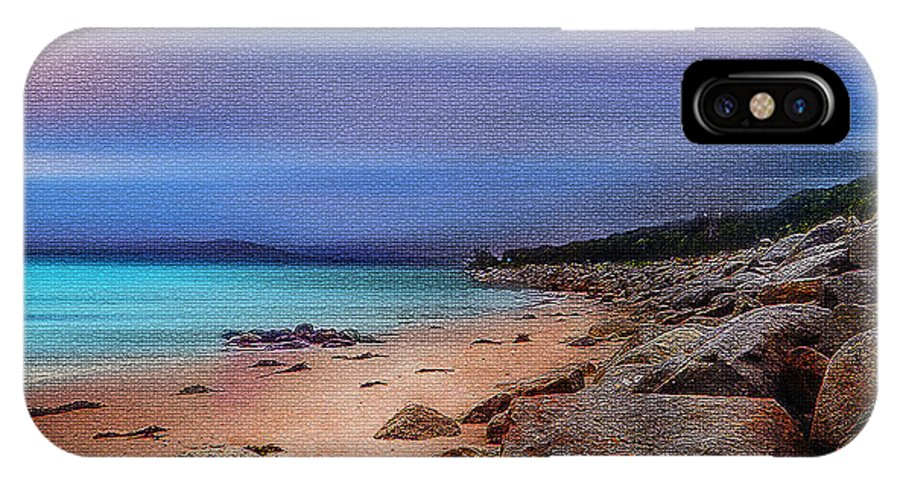 Night Photographs IPhone X Case featuring the tapestry - textile Colorful Beach by Mihai Medves
