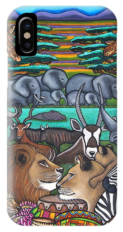Africa IPhone X Case featuring the painting Colours of Africa by Lisa Lorenz