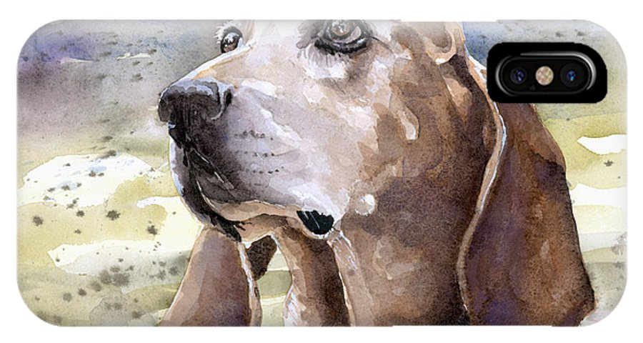 Dog IPhone X Case featuring the painting Coonhound - Pumpkin by Steve Hamlin