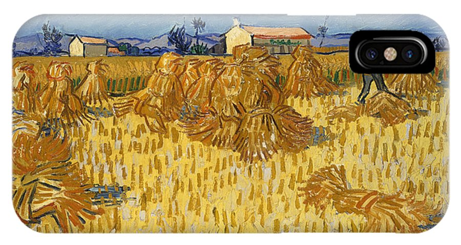 Vincent Van Gogh IPhone X Case featuring the painting Corn Harvest In Provence by Vincent van Gogh