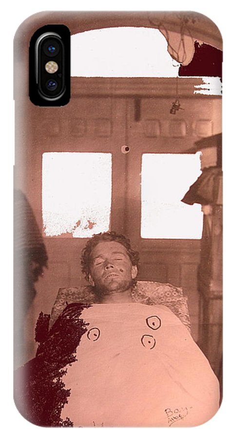 Corpse Bullet Holes Train Robber Cole Estes Aka Cole Young 1872-1896 Collage 1896-2012 IPhone X Case featuring the photograph Corpse Bullet Holes Train Robber Cole Estes Aka Cole Young 1872-1896 Collage 1896-2012 by David Lee Guss