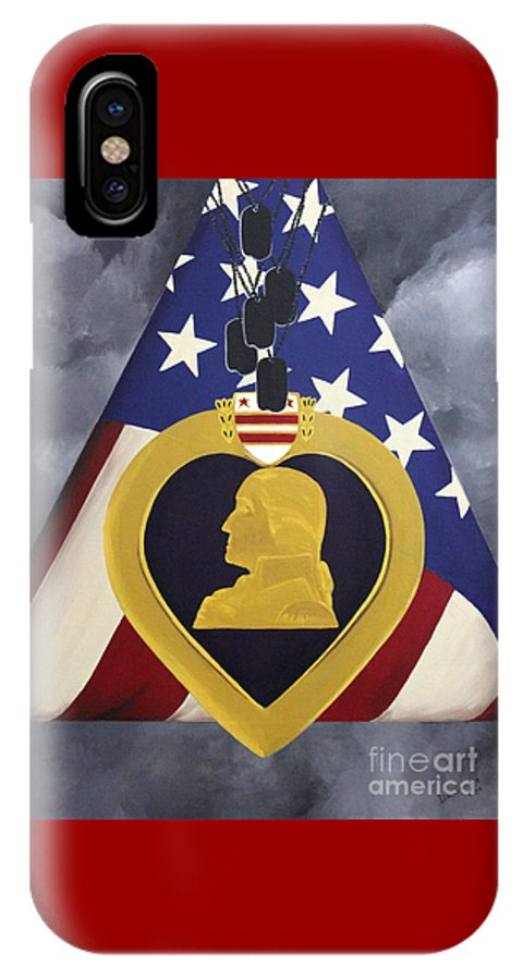 Military Painting IPhone X Case featuring the painting Cost Of Freedom by D L Gerring
