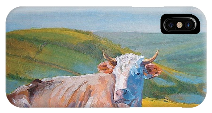 Cow IPhone X / XS Case featuring the painting Cow Lying Down by Mike Jory