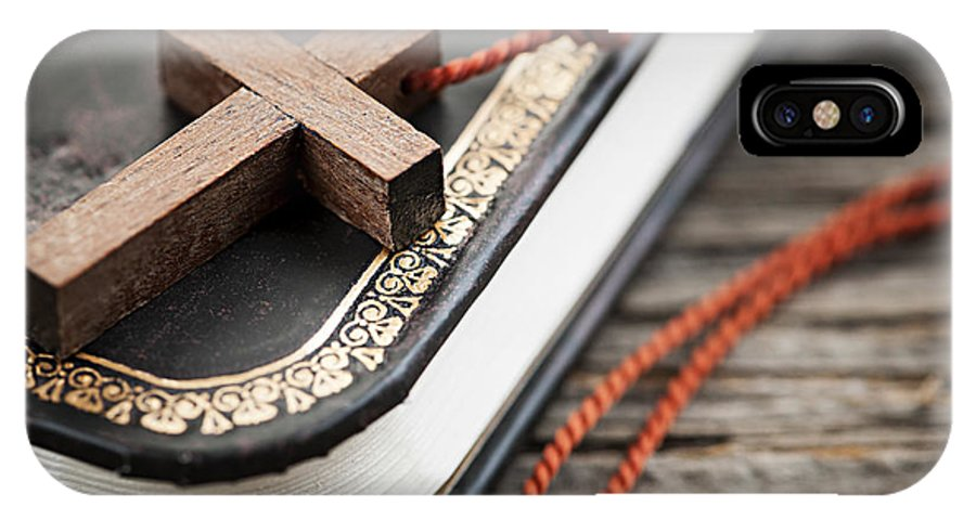 Cross IPhone X Case featuring the photograph Cross On Bible by Elena Elisseeva