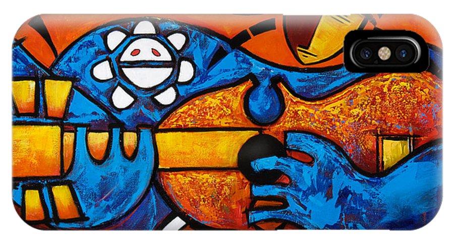 Puerto Rico IPhone X Case featuring the painting Cuatro En Grande by Oscar Ortiz