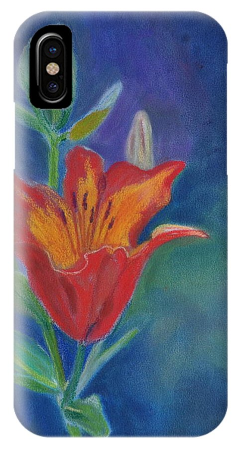 Flower IPhone X Case featuring the pastel Day Lily by Calliope Thomas
