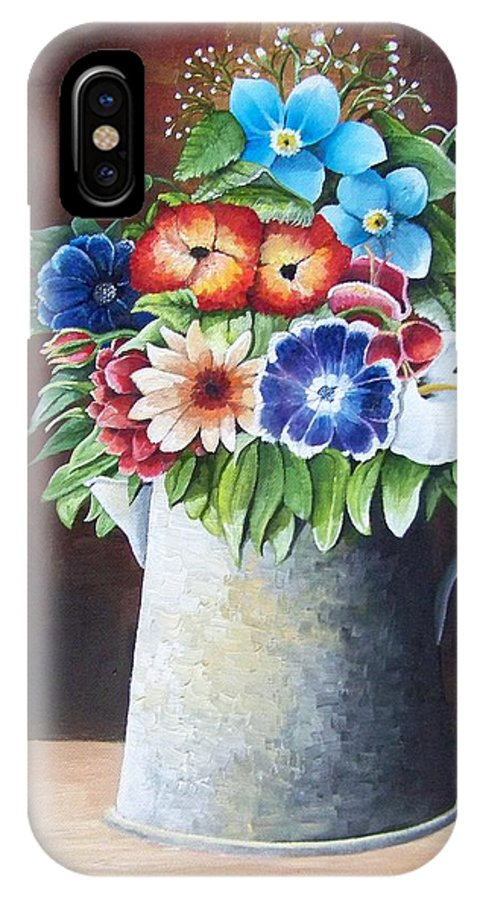 A Metal Watering Can With Numerous Type Of Flowers IPhone X Case featuring the painting Deanne's Flower Pot by Martin Schmidt