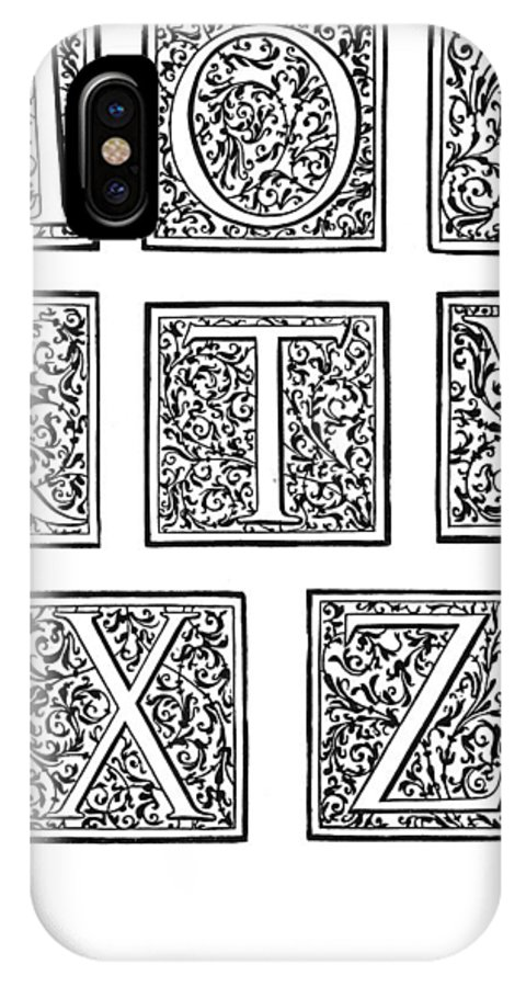 1600 IPhone X Case featuring the painting Decorative Initials, C1600 by Granger