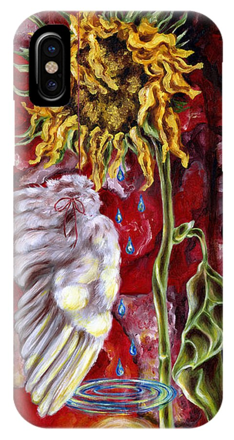 Sun Flower IPhone X Case featuring the painting Despair And Hope by Hiroko Sakai