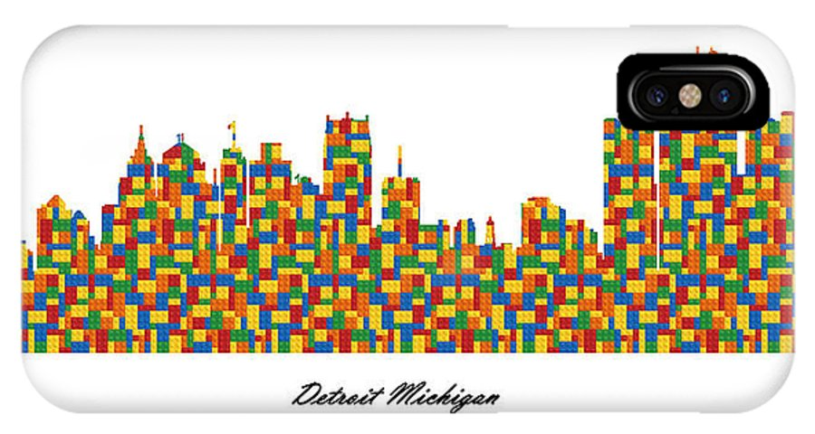 Fine Art IPhone X Case featuring the digital art Detroit Michigan Building Blocks Skyline by Gregory Murray