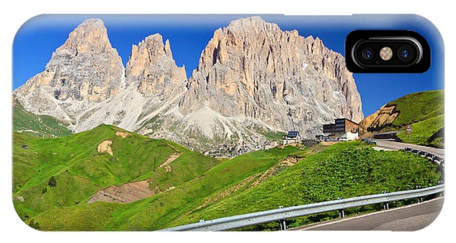 Road IPhone X / XS Case featuring the photograph Dolomiti - Sella Pass by Antonio Scarpi