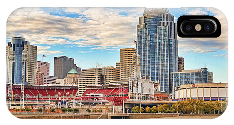 Downtown Cincinnati IPhone X Case featuring the photograph Downtown Cincinnati Pano1 by Jack Schultz