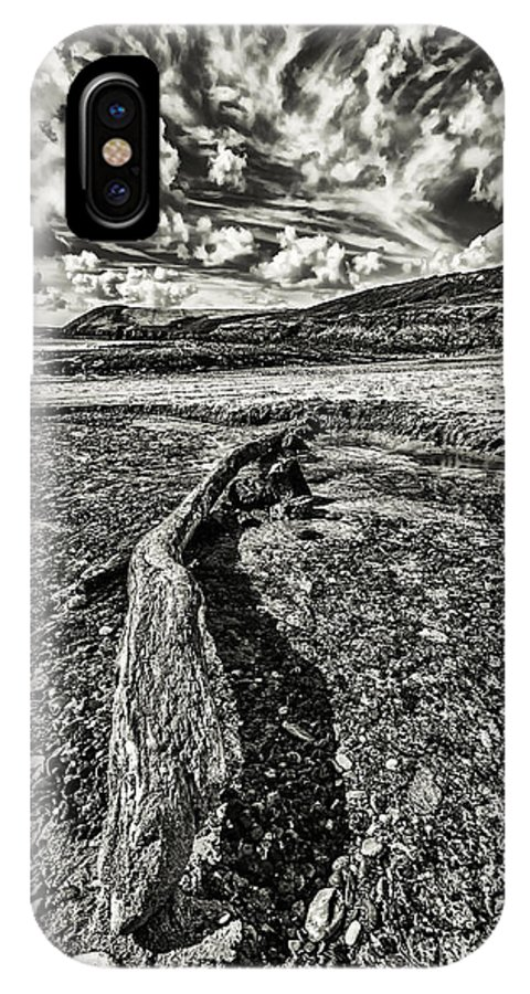Driftwood IPhone X Case featuring the photograph Driftwood Mono by Steve Purnell