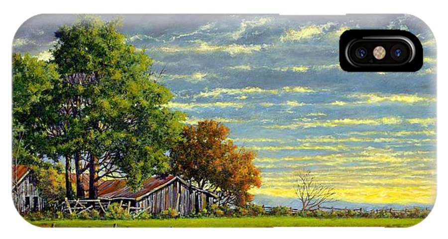 Landscape IPhone X Case featuring the painting Dusk by Jim Gola