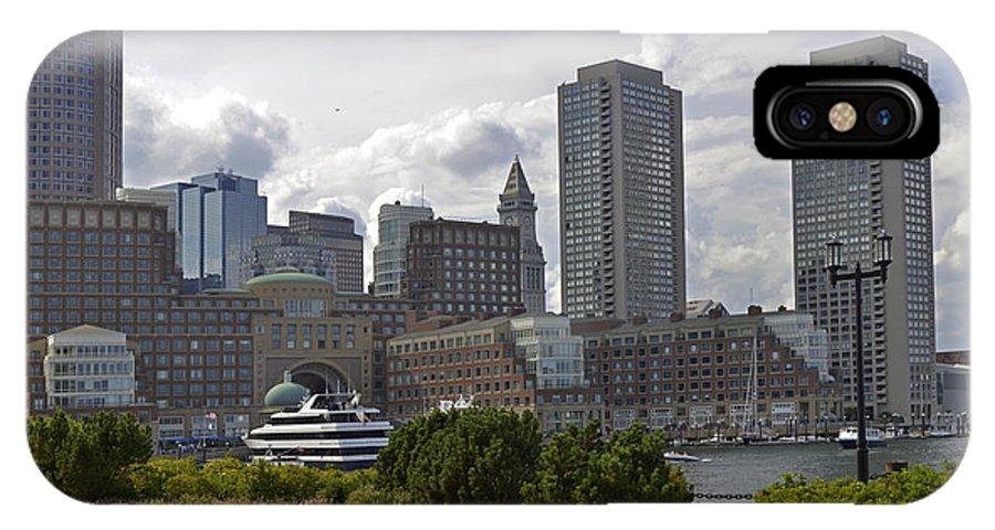 Boston IPhone X Case featuring the photograph East Boston Harbor by Jatinkumar Thakkar