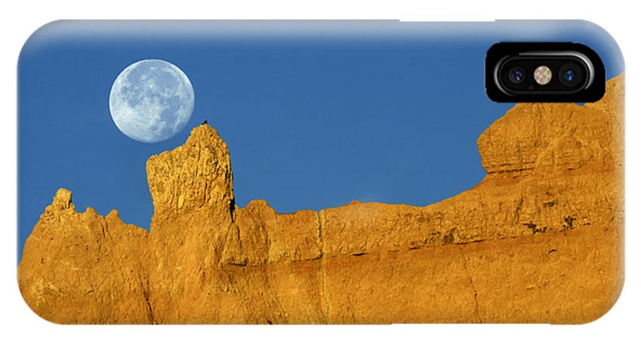 Moon IPhone X Case featuring the photograph East Of The Sun West Of The Moon by Bob Christopher