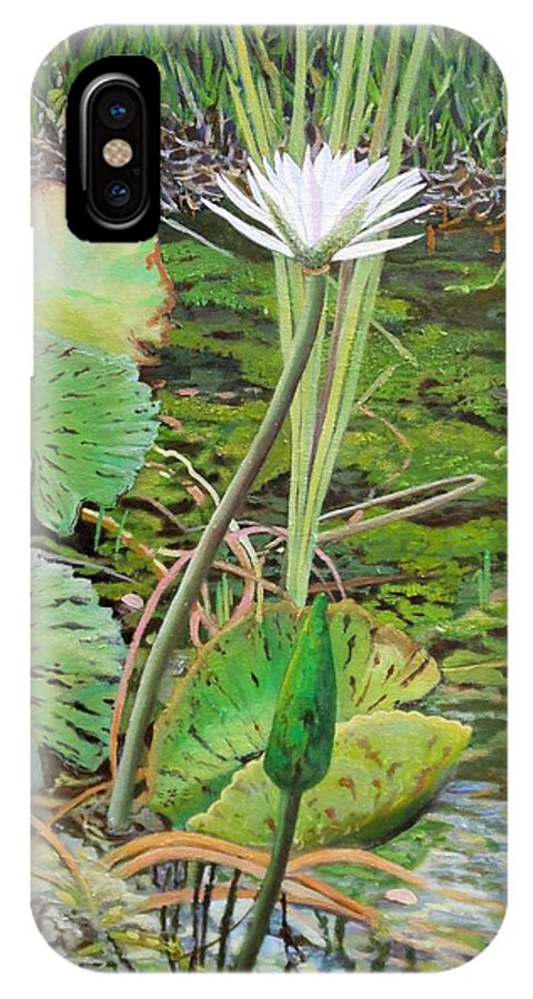 Lily IPhone X Case featuring the painting Emerald Lily Pond by Caroline Street