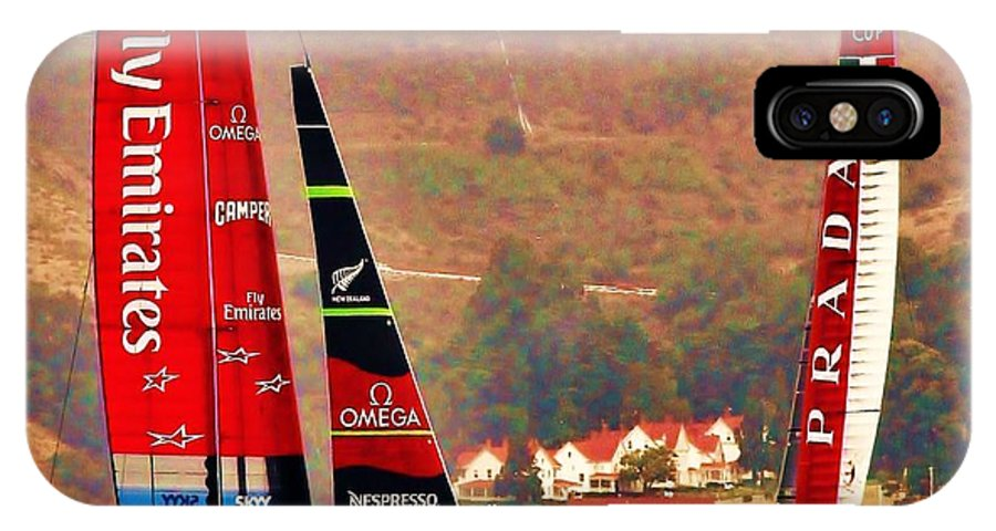 America's Cup IPhone X Case featuring the photograph Emirates Vs. Prada by Steven Holloway