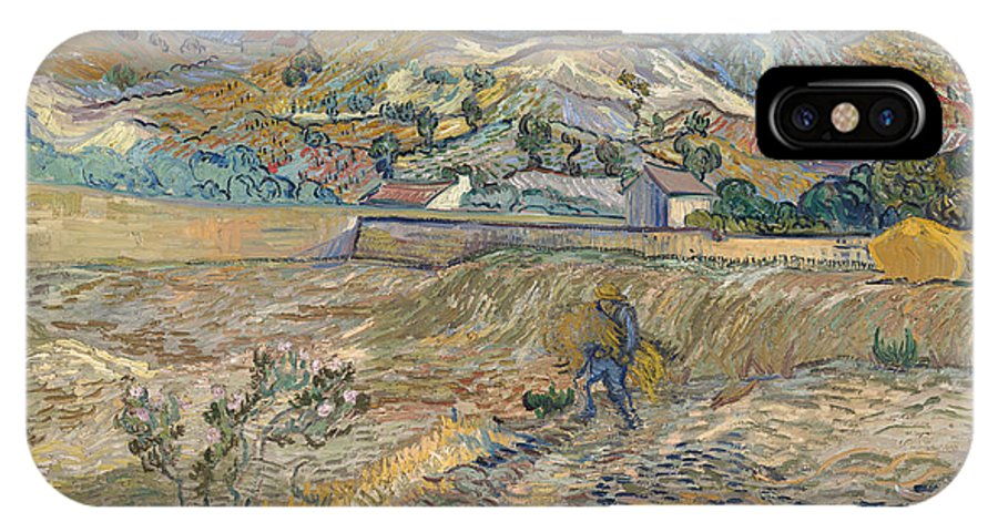 Vincent Van Gogh IPhone X Case featuring the painting Enclosed Wheat Field With Peasant by Vincent van Gogh