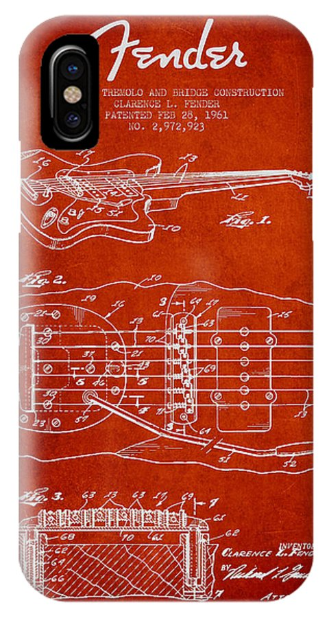 Fender IPhone X Case featuring the digital art Fender Floating Tremolo Patent Drawing From 1961 - Red by Aged Pixel