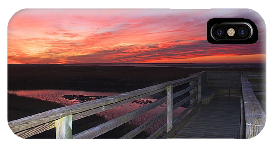 Yarmouth Port Boardwalk IPhone X Case featuring the photograph Fiery Sunset by Amazing Jules