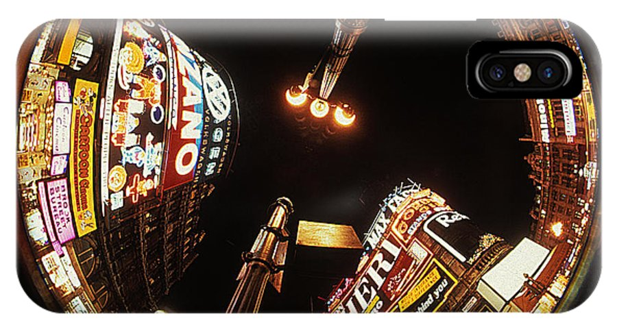 Lamp Post IPhone X Case featuring the photograph Fish Eye Photo Of Picadilly Circus by Carl Purcell