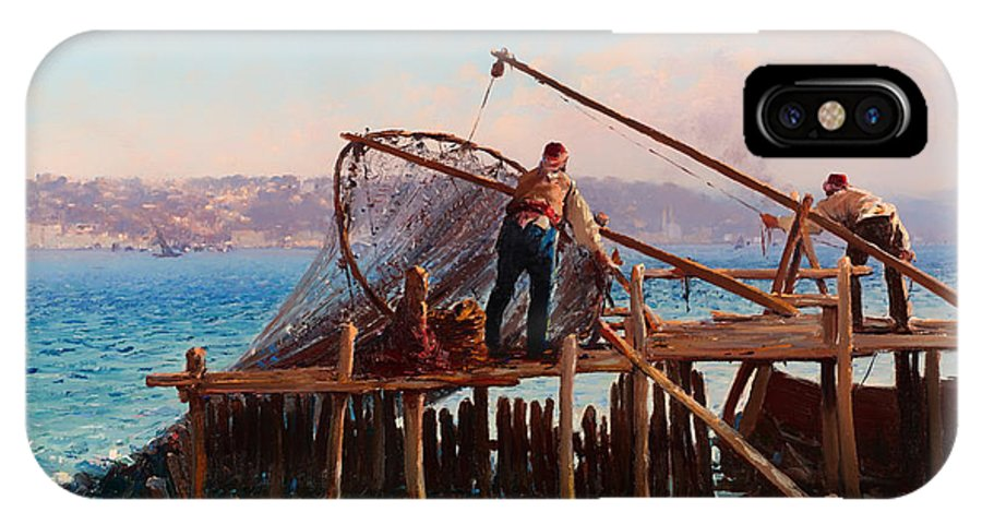 Painting IPhone X Case featuring the painting Fishermen Bringing In The Catch by Mountain Dreams