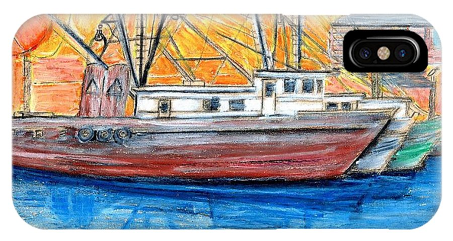 Fishing IPhone Case featuring the drawing Fishing Trawler by Eric Schiabor