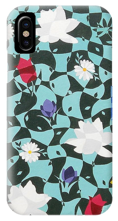 Flowers IPhone X Case featuring the painting Flowers by Heather Chandler