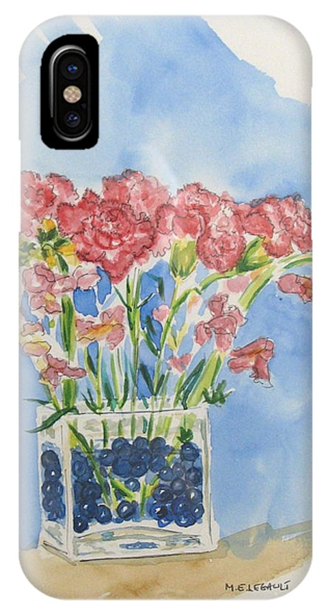 Flowers IPhone X / XS Case featuring the painting Flowers In A Vase by Mary Ellen Mueller Legault