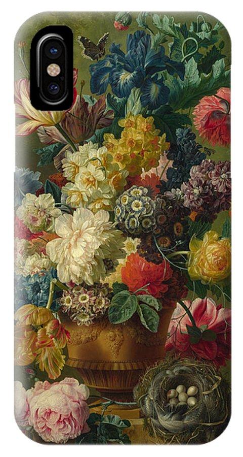 Paulus Theodorus Van Brussel IPhone X Case featuring the painting Flowers In A Vase by Paulus Theodorus van Brussel