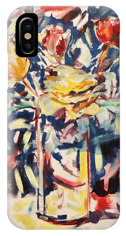 This Is A Vibrant Still Life Of Flowers In A Vase. IPhone X Case featuring the painting For Christan by Sheryl Crighton