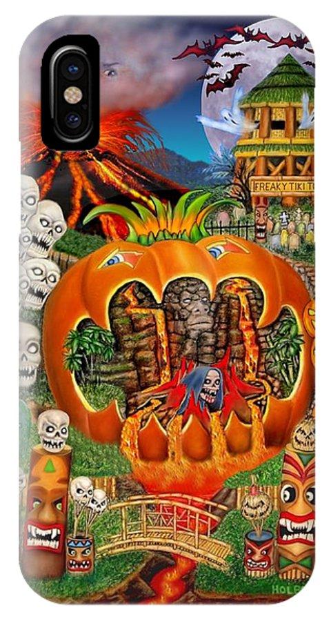 Halloween Art IPhone X Case featuring the digital art Freaky Tiki Tombs by Glenn Holbrook