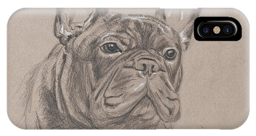 Dog IPhone X Case featuring the painting French Bulldog - Snickers by Steve Hamlin