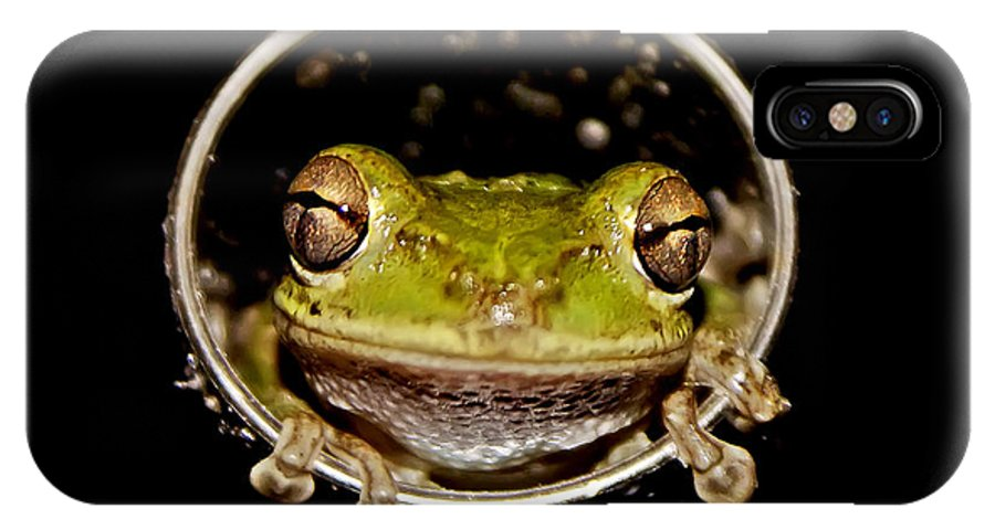 Macro IPhone X Case featuring the photograph Frog by Olga Hamilton