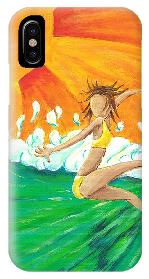 Surf IPhone X Case featuring the painting Girls Can Surf by Jason Honeycutt