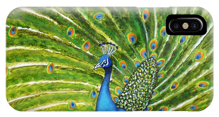 Peacock India Bird Green Landscape Rajasthan Beauty Dance Feathers Eyes Orange Turquoise IPhone X Case featuring the photograph Glorious Peacock by Manjiri Kanvinde