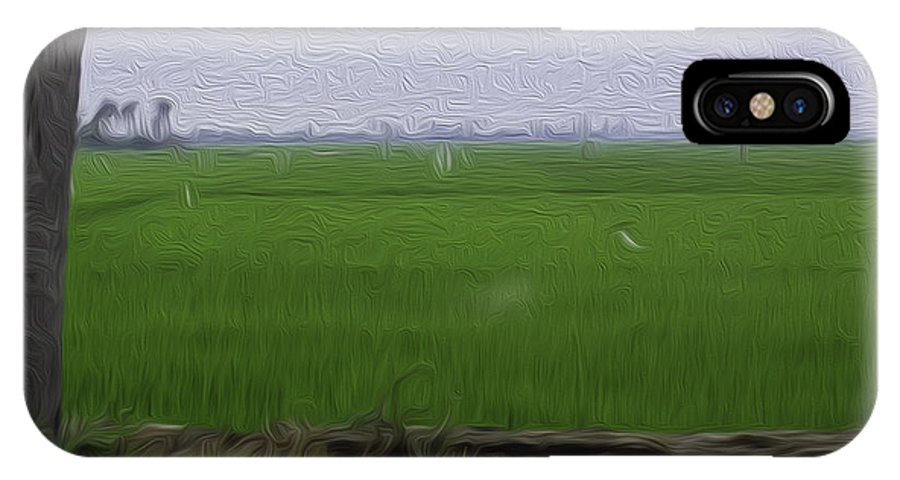 Blue IPhone X Case featuring the digital art Green Fields With Birds In Kerala by Ashish Agarwal
